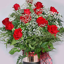 Twelve Luxury Red Roses in a Rose Gold Vase
