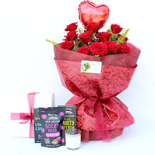 12 Luxury Red Roses with Gifts