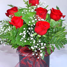 Six Luxury Red Roses in a Rose Gold Vase
